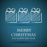 Cartolina di Natale blu con i regali Fotografie Stock Libere da Diritti