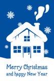 Cartolina di Natale blu con la casa Immagine Stock Libera da Diritti