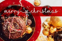 Cartolina di Natale, Buon Natale, inglesi, Inghilterra, tavola, neve, palla di natale, natale illustrazione vettoriale