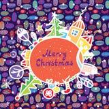 Cartolina di Natale capricciosa con la citt Fotografie Stock