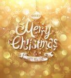 Cartolina di Natale con fondo dorato Fotografie Stock
