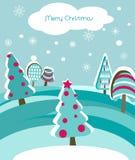Cartolina di Natale con gli abeti Immagini Stock Libere da Diritti