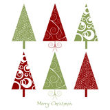 Cartolina di Natale con gli alberi Immagine Stock