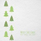 Cartolina di Natale con gli alberi di Natale Fotografia Stock