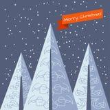 Cartolina di Natale con gli alberi di Natale Fotografie Stock Libere da Diritti