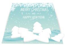 Cartolina di Natale con gli alberi e le derive bianchi della neve Fotografia Stock