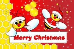 Cartolina di Natale con gli api il Babbo Natale e l'alveare illustrazione di stock