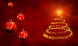 Cartolina di Natale con gli ornamenti Fotografie Stock Libere da Diritti
