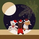 Cartolina di Natale con gli orsi e un agnello royalty illustrazione gratis