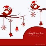 Cartolina di Natale con gli uccelli Immagini Stock Libere da Diritti