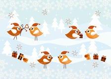 Cartolina di Natale con gli uccelli Fotografia Stock Libera da Diritti