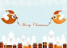 Cartolina di Natale con gli uccelli Fotografie Stock