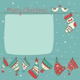 Cartolina di Natale con gli uccelli, i calzini e i turquois dei cappelli Immagine Stock
