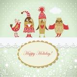 Cartolina di Natale con gli uccelli svegli Immagini Stock