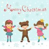Cartolina di Natale con i bambini felici royalty illustrazione gratis