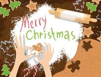 Cartolina di Natale con i biscotti Immagini Stock