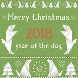 Cartolina di Natale con i cani, fatti nello stile degli origami Immagine Stock Libera da Diritti