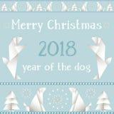 Cartolina di Natale con i cani, fatti nello stile degli origami Immagini Stock Libere da Diritti