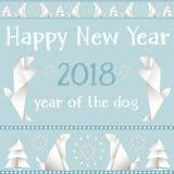 Cartolina di Natale con i cani, fatti nello stile degli origami Fotografia Stock Libera da Diritti