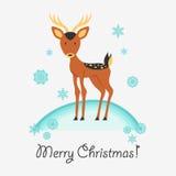 Cartolina di Natale con i cervi Fotografie Stock Libere da Diritti