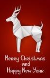 Cartolina di Natale con i cervi Immagine Stock