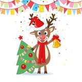 Cartolina di Natale con i cervi del fumetto Fotografia Stock Libera da Diritti