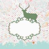 Cartolina di Natale con i cervi. ENV 8 Fotografia Stock