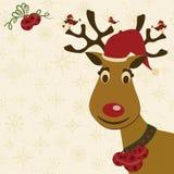 Cartolina di Natale con i cervi, gli uccelli ed i segnalatori acustici Immagine Stock