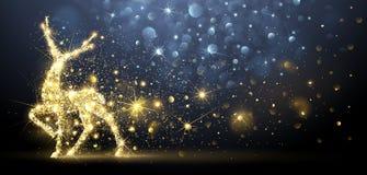 Cartolina di Natale con i cervi magici Illustrazione di vettore illustrazione vettoriale