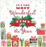 Cartolina di Natale con i contenitori di regalo Immagine Stock Libera da Diritti