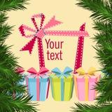 Cartolina di Natale con i contenitori di regalo Fotografie Stock Libere da Diritti