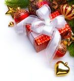 Cartolina di Natale con i contenitori di regalo di natale Fotografia Stock Libera da Diritti