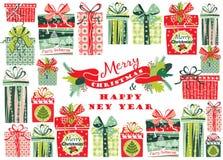 Cartolina di Natale con i contenitori di regalo Illustrazione di vettore Fotografia Stock
