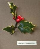 Cartolina di Natale con i desideri allegri Foglie verdi di agrifoglio con rosso Immagini Stock
