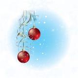 Cartolina di Natale con i fiocchi della neve ed il natale rosso illustrazione di stock