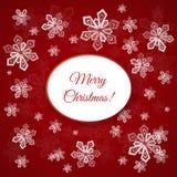 Cartolina di Natale con i fiocchi di neve Fotografie Stock