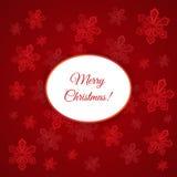 Cartolina di Natale con i fiocchi di neve Fotografie Stock Libere da Diritti