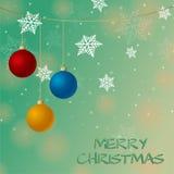 Cartolina di Natale con i fiocchi di neve Fotografia Stock Libera da Diritti