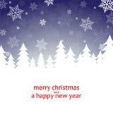 Cartolina di Natale con i fiocchi di neve Immagini Stock