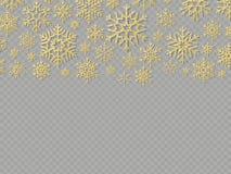 Cartolina di Natale con i fiocchi di neve dell'oro Elementi per il modello di progettazione di festa del nuovo anno ENV 10 illustrazione di stock