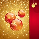 Cartolina di Natale con i giocattoli di feste Fotografia Stock Libera da Diritti