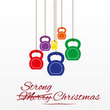 Cartolina di Natale con i kettlebells Fotografia Stock