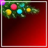 Cartolina di Natale con i rami del pino e le palle variopinte Illustrazione royalty illustrazione gratis