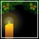 Cartolina di Natale con i rami del pino, le foglie sante e la candela Illustrazione royalty illustrazione gratis