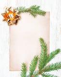 Cartolina di Natale con i rami dell'abete Immagini Stock Libere da Diritti