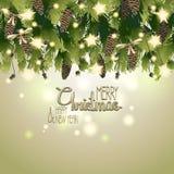 Cartolina di Natale con i rami e la ghirlanda dell'abete Fotografia Stock