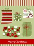 Cartolina di Natale con i regali Fotografie Stock Libere da Diritti