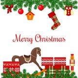 Cartolina di Natale con i regali Immagine Stock Libera da Diritti