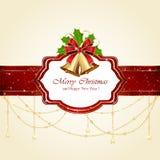 Cartolina di Natale con i segnalatori acustici e l'arco Immagini Stock Libere da Diritti