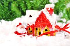 Cartolina di Natale con il Babbo Natale Immagine Stock Libera da Diritti